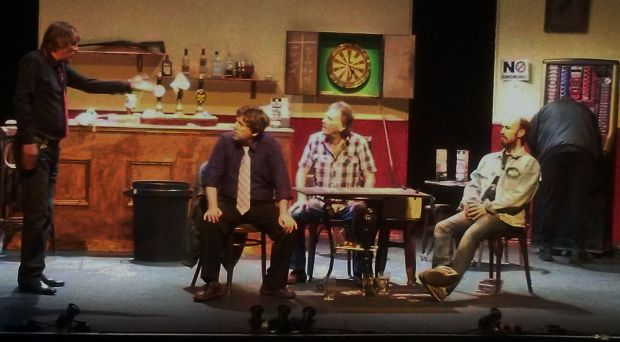 l-r: Neil Armstrong, Keith Henderson, Bob Stott, PD, Gareth Hunter in a scene from the show