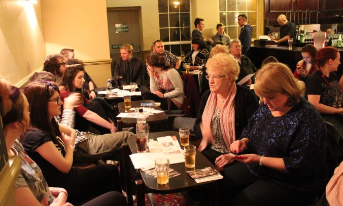 Some of the audience members at the last RRN, discussing the piece they'd just seen