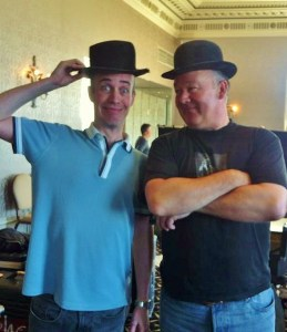 PD in the real Stan Laurel's hat, with Harry as Ollie