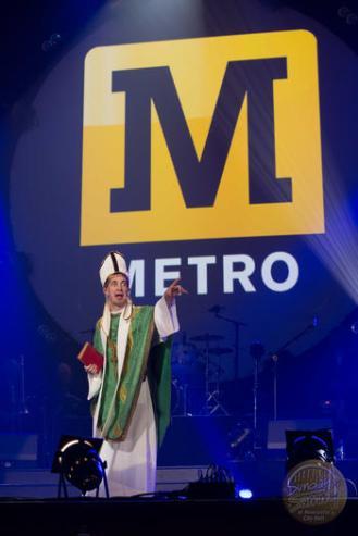 Performing the 'Metro Service' sketch