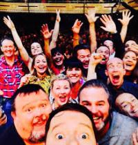 A selfie of some of us on stage during the curtain call