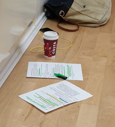 My script in progress (with other rehearsal essentials!)