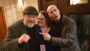 Me and the missus with a comedian at the after-show party